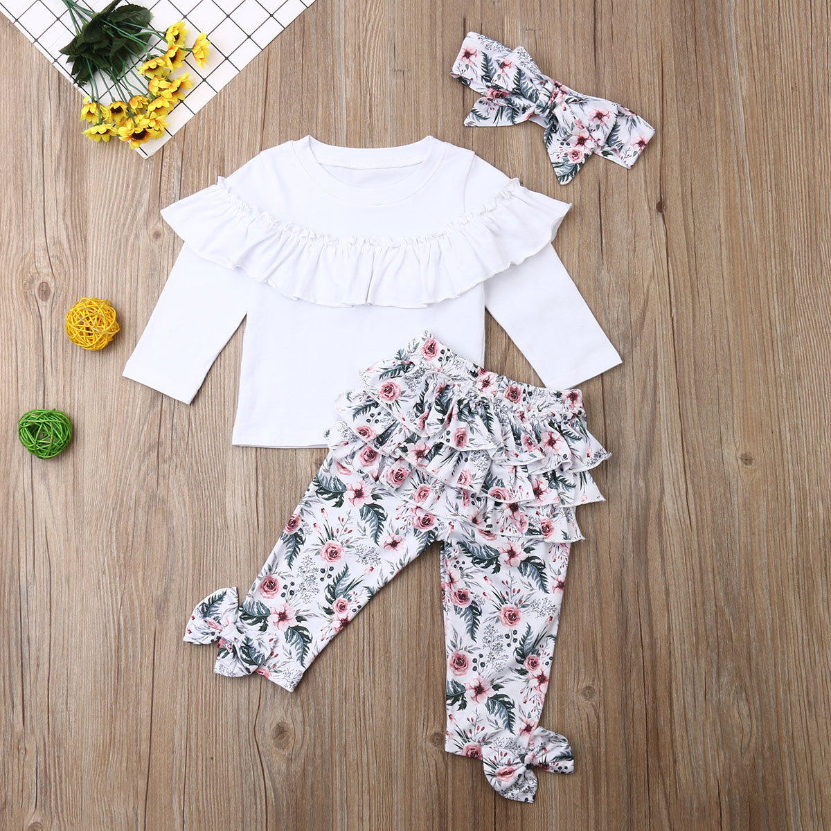 Toddler Kids Baby Girls Winter Clothes Frill Tops+Floral Pants+Headband Outfits